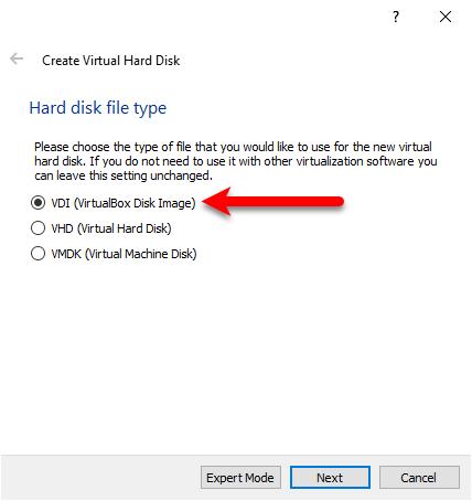 VDI (VirtualBox disk image
