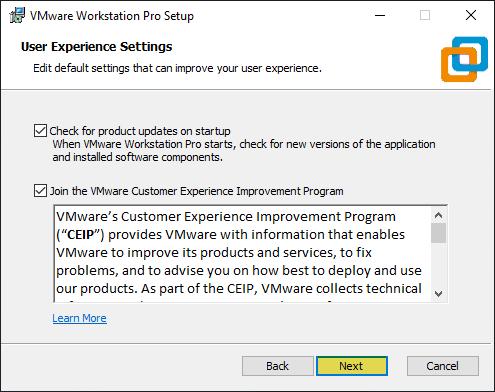 User experience settings