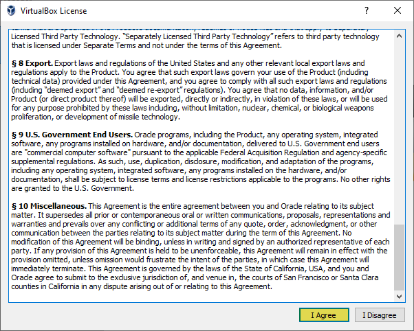 Agree with VirtualBox license