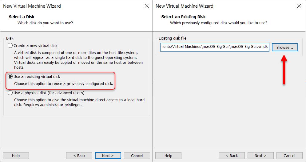Insert the virtual machine image
