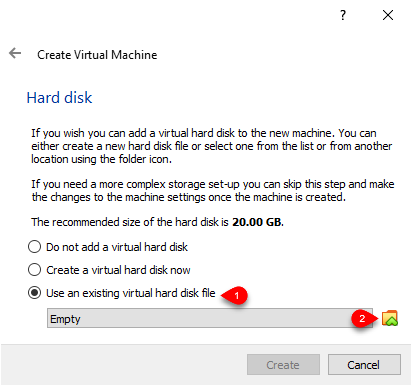 Use an existing virtual hard disk file