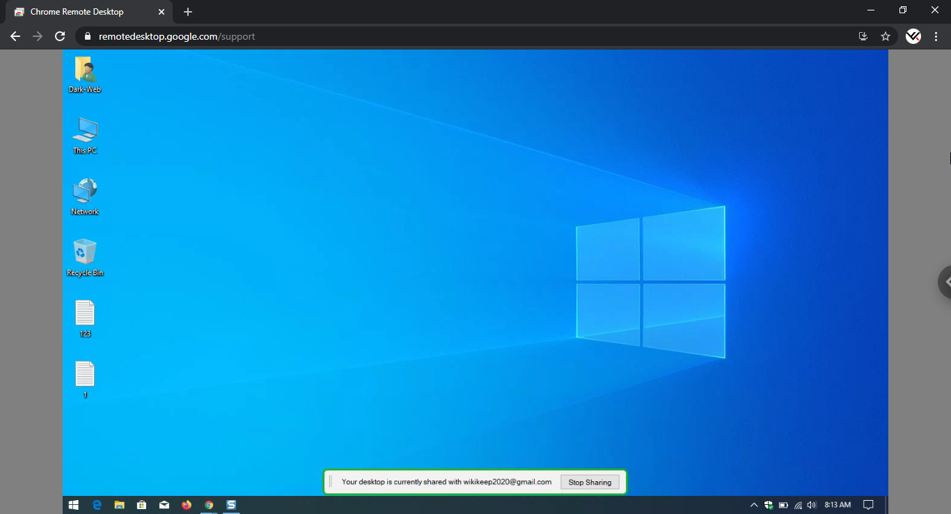 Windows 10 display on Google Chrome