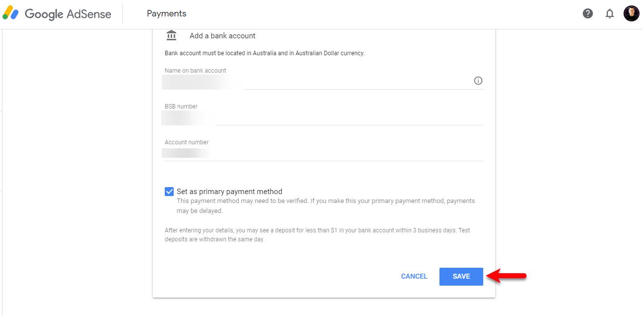 Enter bank details