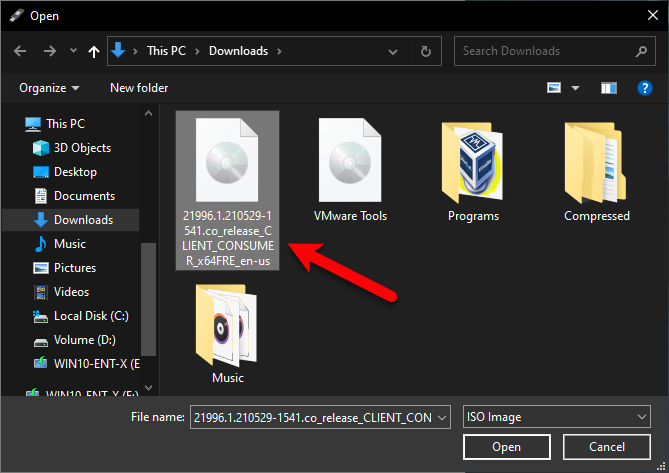 Select Windows 11 ISO Image file