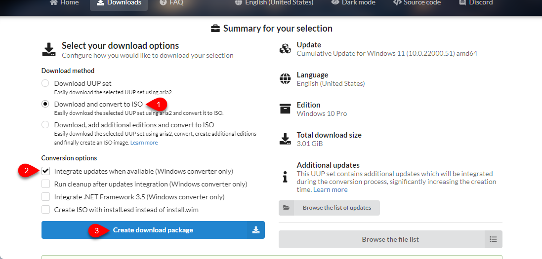 Create Download Package